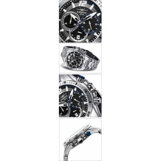 Firefox Watches  SKYWOLF Herren Uhr Edelstahl l Chronograph 10 ATM / schwarz-blau