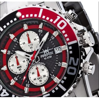 Firefox Watches  ZION Stainless Steel Chronograph 10 ATM black / red