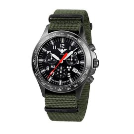 KHS Tactical Watches Black Platoon H3 Chronograph | Natoband Olive