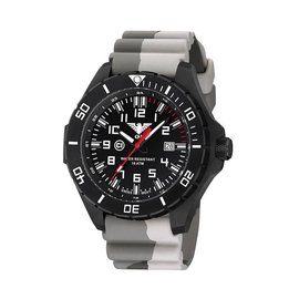 KHS Tactical Watches KHS Landleader Black Steel with Camouflage Silicone Strap Tan