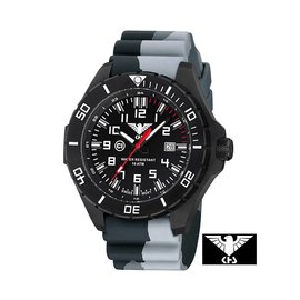 KHS Tactical Watches Landleader Black Steel mit Silikonband Camouflage Grey | KHS.LANBS.DC1