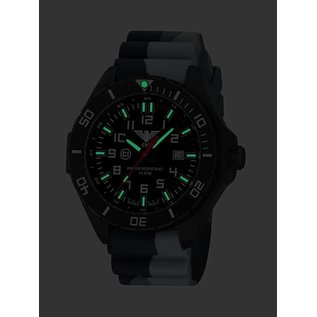 KHS Tactical Watches KHS Einsatzuhr Landleader Black Steel mit Silikonband Camouflage Grey