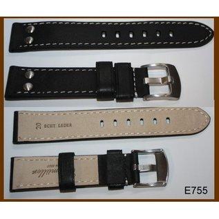 Eichmüller Uhrenarmband Echtlederarmband - AVIATOR | 24mm schwarz