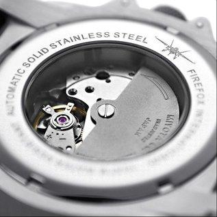 Firefox Watches  Automatik Sportuhr Herrenuhr schwarz Kaliber 8215 Lederarmband