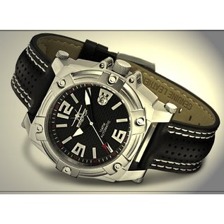 Firefox Watches  Men's Automatic Watch Black-Silver Calibre 8205 - Leather bracelet
