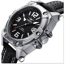 Firefox Watches  Men's Automatic Watch Black-Silver - Leather bracelet