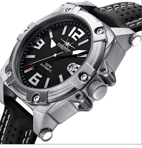 acd67e61039 Firefox Watches Men s Automatic Watch Black-Silver Calibre 8205 - Leather  bracelet ...