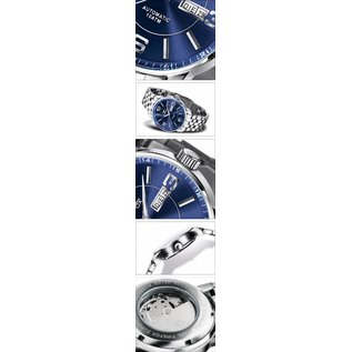 Firefox Watches  Men's Automatic Watch Blue-Silver Calibre 8205 - Leather bracelet