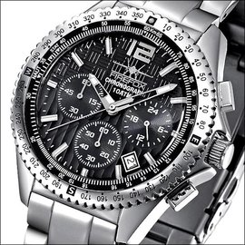 Firefox Watches  RACER Stainless Steel Chronograph 10 ATM  Black