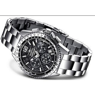 Firefox Watches  RACER Stainless Steel Chronograph Men's Wristwatch 10 ATM | black | stainless steel bracelet