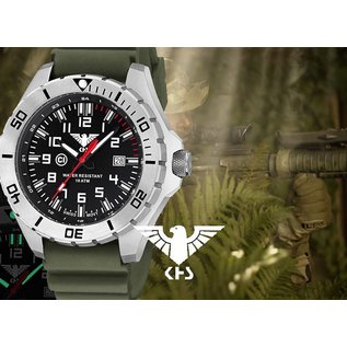 KHS Tactical Watches KHS Herrenuhr Landleader Steel mit Diver Band Olive