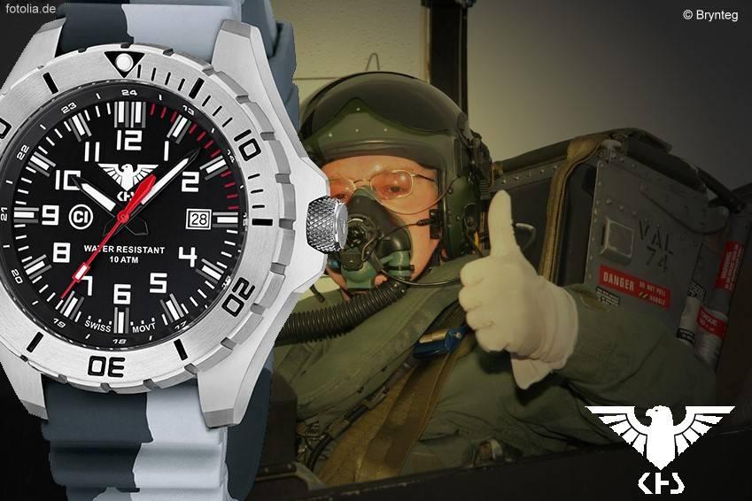 KHS Tactical Watches KHS Herrenuhr Landleader Steel mit Silikonband Camouflage