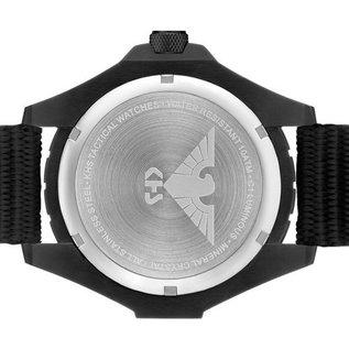 KHS Tactical Watches KHS Einsatzuhr Landleader Black Steel mit Silikonband Oliv