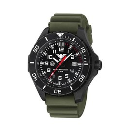 KHS Tactical Watches Landleader Black Steel mit Diver Armband Oliv | KHS.LANBS.DO