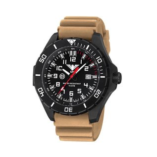 KHS Tactical Watches KHS Einsatzuhr Landleader Black Steel mit Silikonband Tan