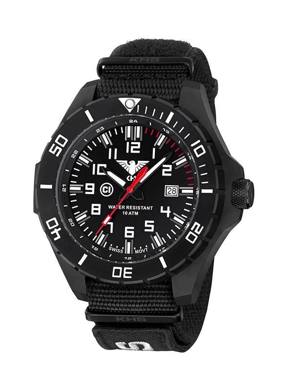 KHS Tactical Watches Landleader Black Steel Natoband XTAC Tan Durchmesser 55mm KHS.LANBS.NXT7