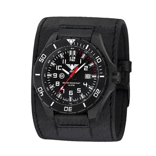KHS Tactical Watches KHS Tactical Watches Landleader Black Steel Leder Kraftband | KHS.LANBS.LK