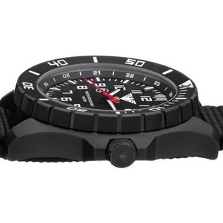 KHS Tactical Watches KHS Tactical Watches Landleader Black Steel mit Büffel Leder Armband| KHS.LANBS.LBB