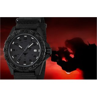 KHS Tactical Watches Military Watch Reaper XTAC Diver Bracelet Black | RED HALO H3 lighting system