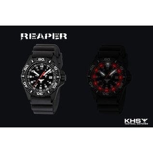 KHS Tactical Watches Military Watch Reaper Diver Bracelet Black | RED HALO H3 lighting system