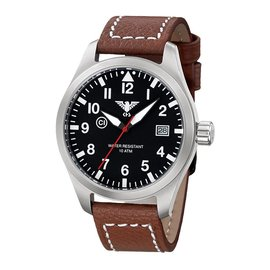 KHS Tactical Watches KHS Fliegeruhr Airleader Steel Lederband Büffel-Leder Braun