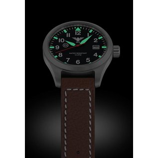 KHS Tactical Watches KHS Fliegeruhr Airleader Steel Lederband Büffel-Leder Braun | KHS.AIRS.LB5