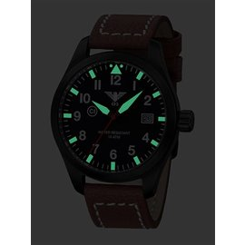 KHS Tactical Watches Pilot Watch Airleader Black Steel Leather Brown KHS.AIRBS.LB5
