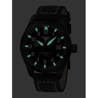KHS Tactical Watches  KHS Pilot Watch Airleader Black Steel Leather Black | KHS.AIRBS.LBB