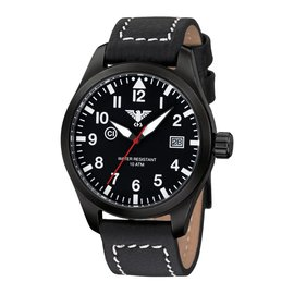 KHS Tactical Watches KHS Fliegeruhr Airleader Black Steel Lederband Büffel-Leder Black