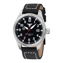 KHS Tactical Watches KHS Fliegeruhr Airleader Steel Lederband Büffel-Leder Black
