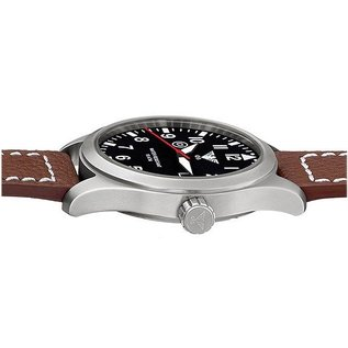 KHS Tactical Watches KHS Fliegeruhr Airleader Steel Lederband Büffel-Leder Black | KHS.AIRS.LBB
