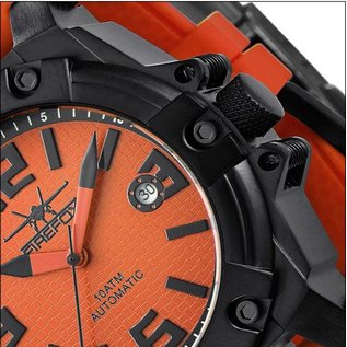 Firefox Watches  Automatik Sportuhr Herrenuhr Orange Kaliber 8215