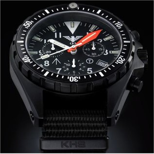 KHS Tactical Watches Missiontimer 3  Chronograph with black diver silikon strap |  KHS.MTAOTC.DB