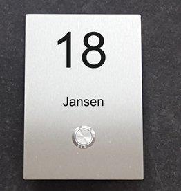 Naamplaat + Deurbel onder 110x160 mm RVS INOX