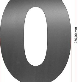 Huisnummers RVS Cijfer 0 25 cm groot OP=OP