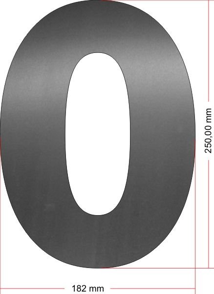 RVS Huisnummer 0 groot 25 cm OP=OP