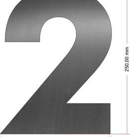 Huisnummers RVS Cijfer 2 25 cm groot OP=OP