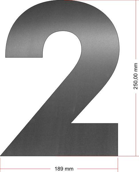 RVS Huisnummer 2 groot 25 cm OP=OP
