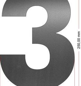 Huisnummers RVS Cijfer 3 25 cm groot OP=OP