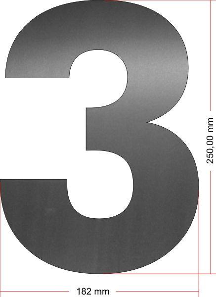 RVS Huisnummer 3 groot 25 cm OP=OP