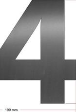 RVS Huisnummer 4 groot 25 cm OP=OP