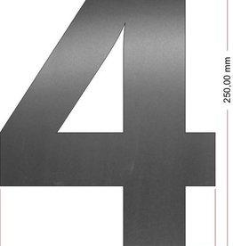 Huisnummers RVS Cijfer 4 25 cm groot OP=OP