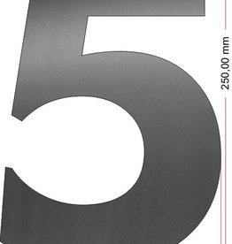 Huisnummers RVS Cijfer 5 25 cm groot OP=OP