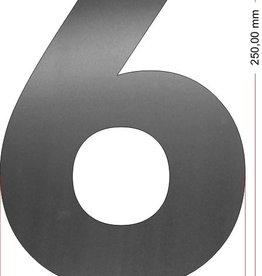Huisnummers RVS Cijfer 6 25 cm groot OP=OP