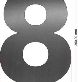 Huisnummers RVS Cijfer 8 25 cm groot OP=OP