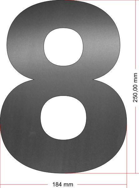 RVS Huisnummer 8 groot 25 cm OP=OP