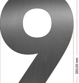 Huisnummers RVS Cijfer 9 25 cm groot OP=OP