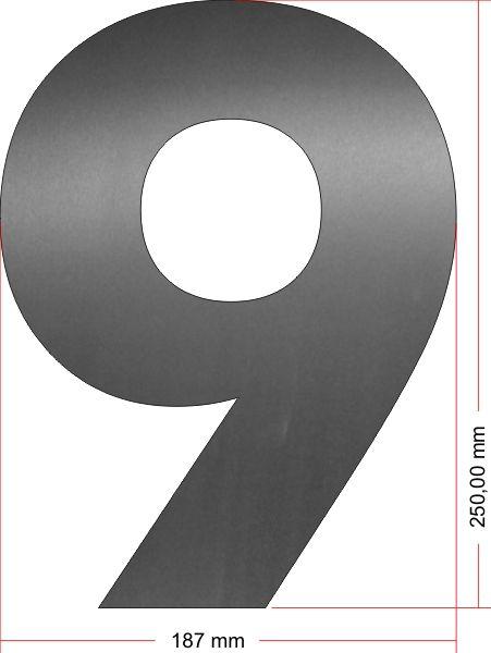 RVS Huisnummer 9 groot 25 cm OP=OP
