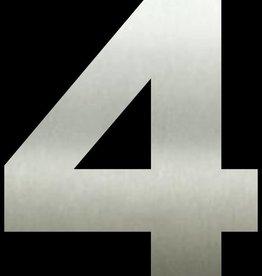 Huisnummers RVS Cijfer 4 20 cm groot