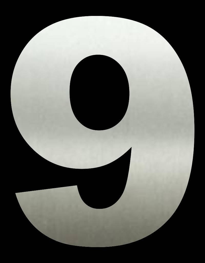 RVS Huisnummer 9 groot 20 cm
